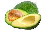 One and two pices avocado isolated