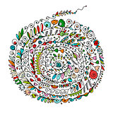 Floral spiral ornament, hand drawn sketch for your design