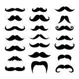 Set of men mustaches for design, photo booth
