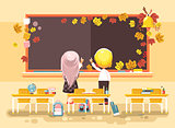 Vector illustration back to school cartoon characters schoolboy schoolgirl apprentices studying in empty classroom standing at staple with textbooks pupils write blackboard flat style background