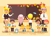 Vector illustration back to school cartoon characters schoolboy schoolgirl pupils apprentice teachers study in classroom sit at staple autumn background classmates write on blackboard flat style