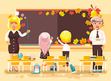 Vector illustration back to school cartoon characters schoolboy schoolgirl pupils apprentices teachers study in empty classroom stand at staple write on blackboard flat style autumn background