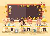 Vector illustration back to school cartoon characters schoolboy schoolgirls pupils apprentices studying in classroom happy classmates sitting at staple on autumn blackboard background flat style