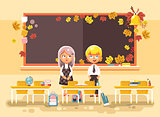 Vector illustration back to school cartoon two characters schoolboy and schoolgirl standing alone in empty classroom at staple with textbooks pupils near blackboard flat style autumn background