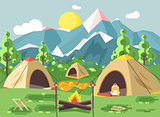 Vector illustration nature national park landscape three tents bonfire, chicken fried sandwiches, snack, food, backpack, camping hiking daytime sunny day, outdoor background mountains flat style
