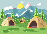 Vector illustration cartoon nature national park landscape with three tents camping hiking rules of survival bushes, lawn, trees, daytime sunny day, outdoor background of mountains in flat style