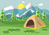 Vector illustration cartoon nature national park landscape with lonely tent camping hiking rules of survival bushes, lawn, trees, daytime sunny day, outdoor background of mountains in flat style