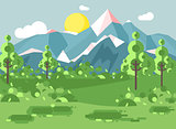 Vector illustration cartoon nature national park landscape with bushes, lawn, trees, daytime sunny day with blue sky and white clouds outdoor background of mountains in flat style