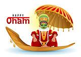 Happy Onam greeting card. Hindu festival of Kerala in India. Mahabali king returns swimming on boat