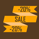 Gold ribbon picture discounts for twenty percent on a brown background, selling out, cheap, selling