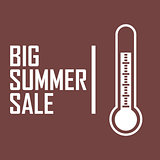 "A picture of a white thermometer on a dark red background with the inscription ""The Big Summer Sale"""
