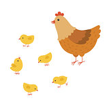 funny hen cartoon with her baby chicken, mother hen