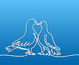 Two doves logo. White on blue gradient background