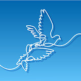 Flying two pigeons logo