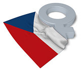 female symbol and flag of Czech Republic - 3d rendering