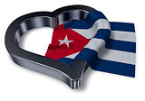 flag of cuba and heart symbol - 3d rendering
