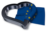 flag of the european union and heart symbol - 3d rendering