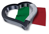 italian flag and heart symbol - 3d rendering