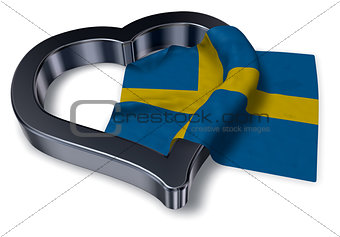 flag of sweden and heart symbol - 3d rendering
