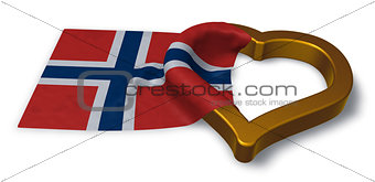 flag of norway and heart symbol - 3d rendering