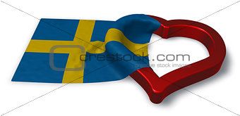flag of sweden and heart symbol - 3d rendering