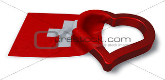 flag of switzerland and heart symbol - 3d rendering