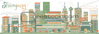 Abstract Shenyang Skyline with Color Buildings.