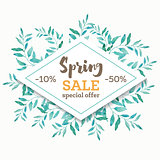 Spring sale background banner with beautiful watercolor leaves.