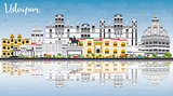 Udaipur Skyline with Color Buildings, Blue Sky and Reflections.