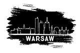 Warsaw Skyline Silhouette. Hand Drawn Sketch.