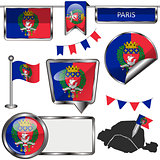 Glossy icons with flag of Paris
