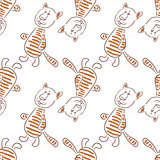 Cartoon Tiger Contours, Seamless