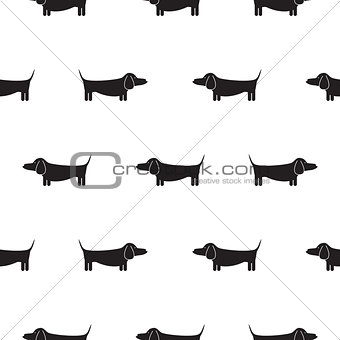Dachshund dog silhouette seamless vector monochrome pattern.