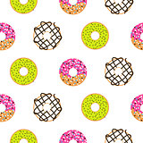 Donuts sugar glazed seamless vector pattern.