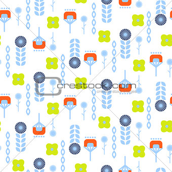 Abstract folk floral art pattern seamless vector.