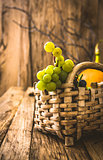 Fresh grapes on wood