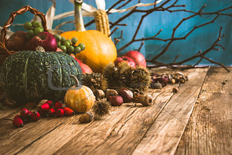 Autumn background with fruit