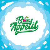Vector cartoon frame: Bon appetit lettering