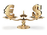 Scale with symbols of currencies euro and US dollar isolated on