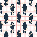 Poodle dog silhouette seamless vector checkered pattern.