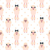 Poodle cute pink dog girlish seamless vector polkadot pattern.