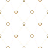 English tea party elegant gold on white line vector pattern.