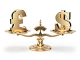 Scale with symbols of currencies UK pound and US dollar isolated