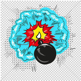 old bomb starting to explode comic book design