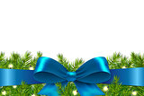 Blue Ribbon With Fir Tree