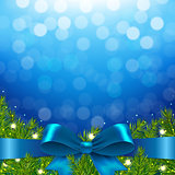 Blue Xmas Background With Bow