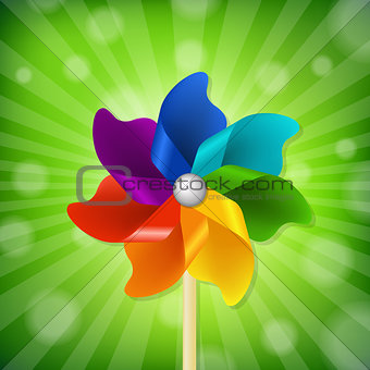 Green Sunburst With Colorful Pinwheel