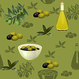 seamless pattern with olives and branches