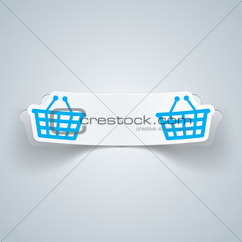 Cart, buy, shop icon. Origami cut paper
