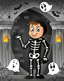 Boy in Halloween costume theme image 1